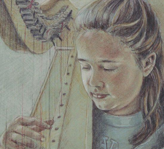 Elise met harp-2002-kinderen-portret-Dioni-ten-Busschen-1